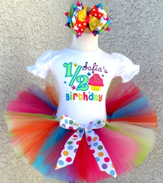Girls Half 1 2 Birthday Shirt Tutu Outfit Set